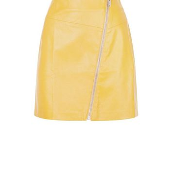 Yellow Asymmetric Leather-Look Mini Skirt | New Look