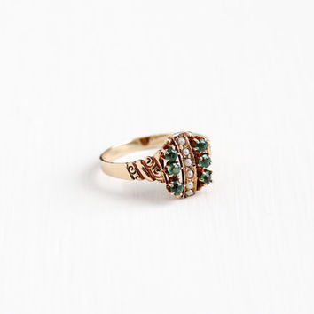 Antique Victorian 10k Rosy Yellow Gold Green Garnet Doublet & Seed Pearl Cluster Ring - Vintage 1800s Size 8 1/2 Green Allsop Fine Jewelry