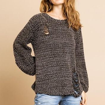 Long Sleeve Knit Pullover Sweater with Distressing and Cut Out Open Back Details