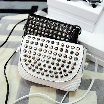 Korean Stylish Strong Character Diamonds One Shoulder Bags [6581836999]