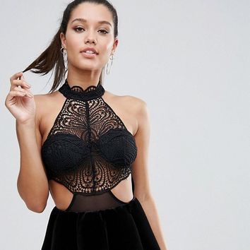Love Triangle High Neck Lace Bust Body at asos.com