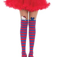 Leg Avenue Female Hello Kitty And Joey Spandex Opaque Striped W/Sheer Thigh Accent HK7954