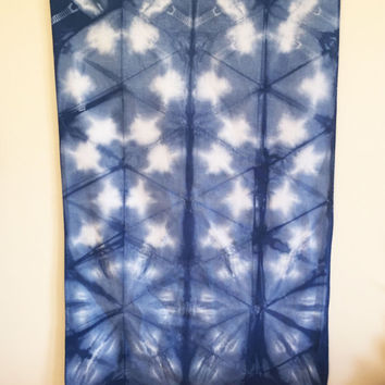 SALE!!! Wall hanging in Indigo Itajime, SHIBORI wall hanging, textile art, room decor, wall decor, bohemian, free people, tribal