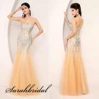 Long Mermaid Evening Cocktail Gown Wedding Crystals Party Prom Dress