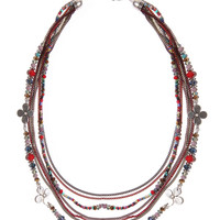 Red multirow beaded and chain necklace