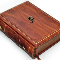 Handmade leather journal - Antique style wood color, 6x8 inch (15x20 cm) in gift box