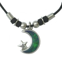 Mood Pendant Necklace - Moon with Star