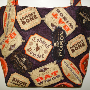 Witches' Brew Purse - Zombie Elixir, Eye of Owl, Pickled Bat Wings, Poison, Halloween.