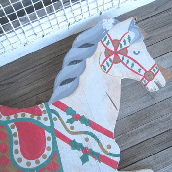 Rustic, Shabby Vintage Christmas Horse Hanging - Farmhouse, Distressed Christmas Rocking Horse for Wall, Fence, Barn