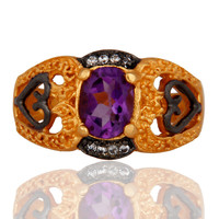 Handmade Natural Amethyst Gemstone 18k Yellow Gold Plated Ladies Fashion Ring
