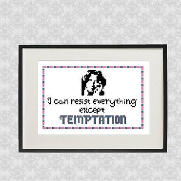 Modern Subversive Cross Stitch  Pattern Instant PDF Download Oscar Wilde Famous Quote, Fun Beginner Pattern