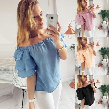 Womens Beautiful Off Shoulder Irregular Top