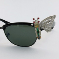 SALE Vintage 50s style BUTTERFLY cateye rhinestones sunglasses clubmaster Ray ban type cat eye eyewear