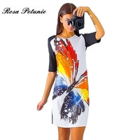 Women Dress Vintage Printed Half Sleeve