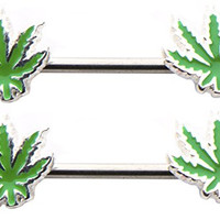 Pot Leaf Forward Facing 14g 1/2 Nipple Bars Ring Barbells - Sold as a Pair