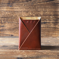 Leather Minimalist Wallet-folded card wallet handmade, card holder#Whiskey Brown