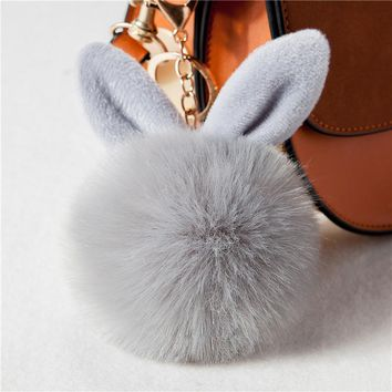 Zoeber Cute Bunny Pom Pom KeyChain Bag Charms Jewelry Rabbit Fur Ball Key Chain Porte Clef Pompom de fourrure Pompon Women