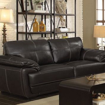 Contemporary Style Leatherette Sofa With Double Stitch Contrast, Black - 551101