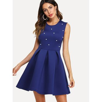 Pearl Embellished Boxed Pleated Dress