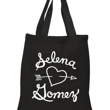 "Selena Gomez ""Selena Gomez Heart"" 100% Cotton Tote Bag"