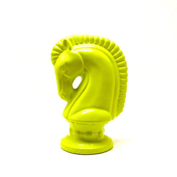 horse head figurine, ceramic chess  //  neon, lime green, bright decor, colorful, horses, bust, modern, mod, home decor, unique, vintage