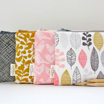 Zipper Pouch, Modern Nature, Color, Leaves, Birds, Pencil Pouch, Pencil Case, College, Kids, School Supplies, Teens, Women, Organize