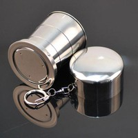 2016 New 1PCS Stainless Steel Camping Folding Cup Traveling Outdoor Camping Hiking Sports Mug Portable Collapsible Cup Bottel