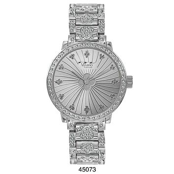 M Milano Expressions Silver Metal Band Watch with Silver Case and Silver Dial