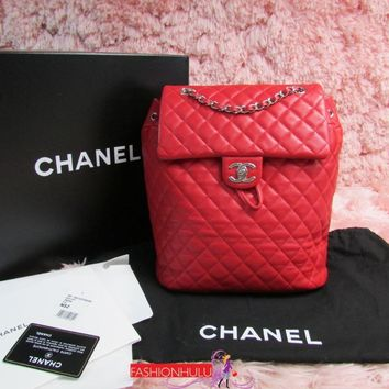 2016 16P CHANEL Large Red Lambskin Urban Spirit Backpack Bag Silver HW