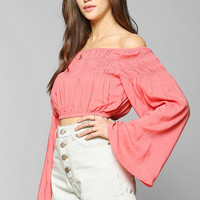 Pins And Needles Smocked Bell-Sleeve Cropped Top - Urban Outfitters