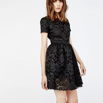 Floral Embroidery Back Zipper Pleated Mesh and Lace A-Line Dress