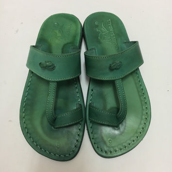 Green leather women slippers handmade leather sandal for woman summer outfit Jesus camel shoe