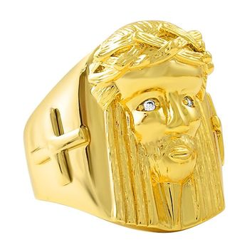 Gold Jesus Piece Ring with Cross
