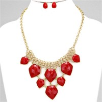HauteChicWebstore Geometric Gold Tone Cascades Statement Necklace Red - www.shophcw.com
