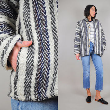 Striped 70's herringbone woven BLANKET coat