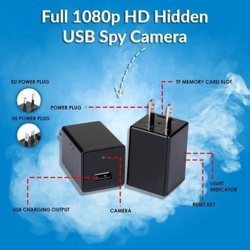 Motion detection spy camera nanny cam with full 1080P HD USB cell phone charger