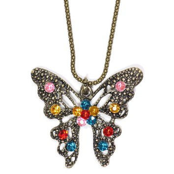 Crystal Butterfly Necklace Vintage Gold Tone Rainbow SN10 Antique Moth Pendant Fashion Jewelry