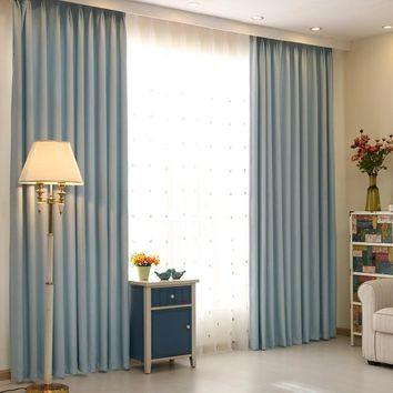 Free shipping cotton solid color blackout curtains custom finished window blackout full bind curtains for living room