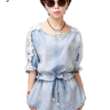 women denim Blouse 2017 Autumn half Sleeve Women Tops Fashion Clothing Lace Office Wear Shirt