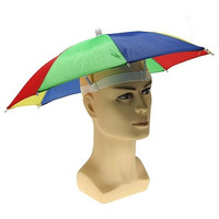 NEW Rainbow Foldable Umbrella Hat Cap Headwear For Outdoor Golf Fishing Camping
