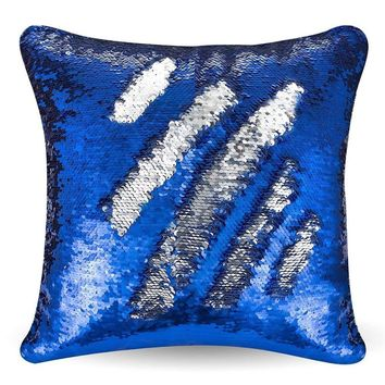"""16""""x16"""" with INSERT Mermaid Flip Sequin Pillow that Changes Color Reversible Pillow with Sequins Perfect Color Changing Throw Pillow Square for Home Decor Great Gift for all Blue Silver"""