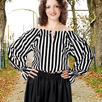 Striped Pirate Blouse Black White