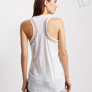 LLD Solid Hi-Lo Knotted Racerback Tank