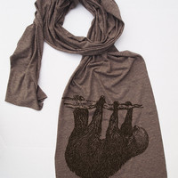 Scarf - Tree SLOTH Jersey Tri-Blend Extra Long Wrap (3 Colors Available)