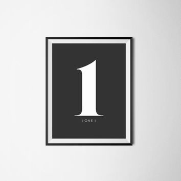 Number 1 one, 8x10 digital download, numbers, black and white print, printable, poster, home decor, wall art, modern print, minimalist