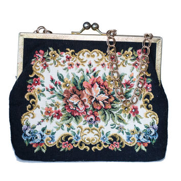vintage 1960's purse - black walborg needlepoint floral embroidery
