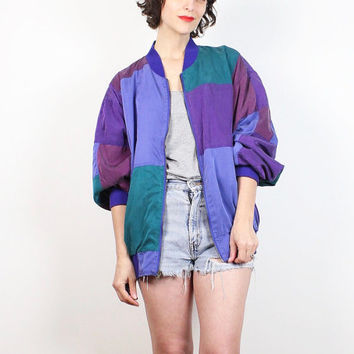 Vintage Silk Bomber Jacket 1980s Purple Green Teal Blue Patchwork Windbreaker Jacket 80s Slouchy Track Color Block Warm Up XL Extra Large