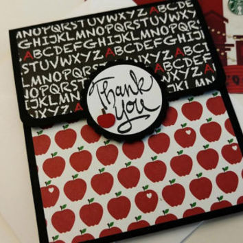 Teacher Apple Theme Gift Card Holder With Envelope, Thank You School Gift Card Holder, Stampin Up Teacher Gift