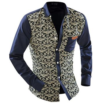 Men Dress Shirt New Fashion Men Shirt Male Printing Shirts Dress Long Sleeve Slim Fit Hombre