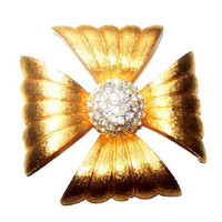 Maltese Cross Brooch Clear Rhinestones Gold Ribbed Metal Religious Pin Fashion Statement 2 in Vintage